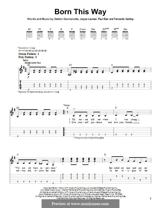 Born This Way: Easy guitar with tab by Fernando Garibay, Jeppe Laursen, Paul Blair, Stefani Germanotta