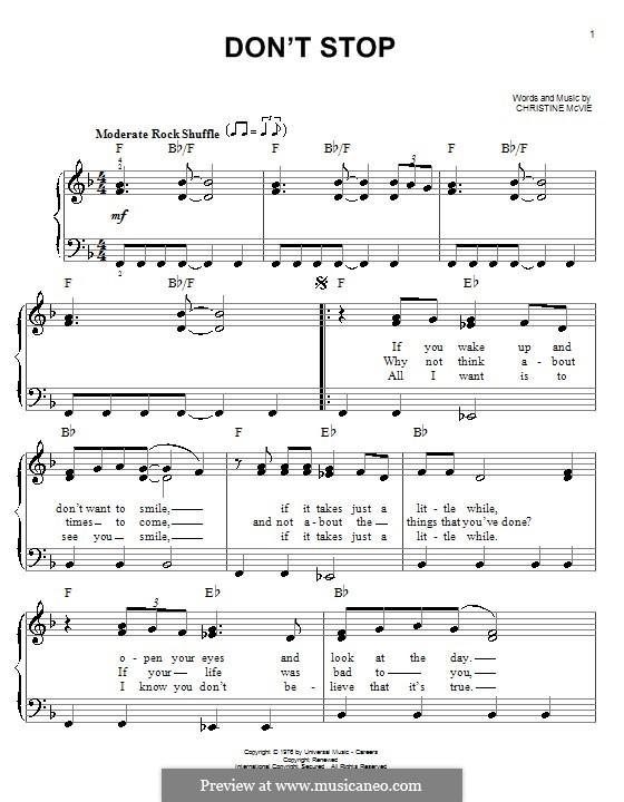 Don't Stop (Fleetwood Mac): Для фортепиано (легкий уровень) by Christine McVie