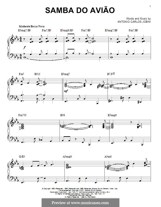 Song of the Jet (Samba do Aviao): Для фортепиано by Antonio Carlos Jobim