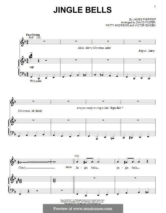 Jingle Bells (Printable scores): Для голоса и фортепиано by James Lord Pierpont