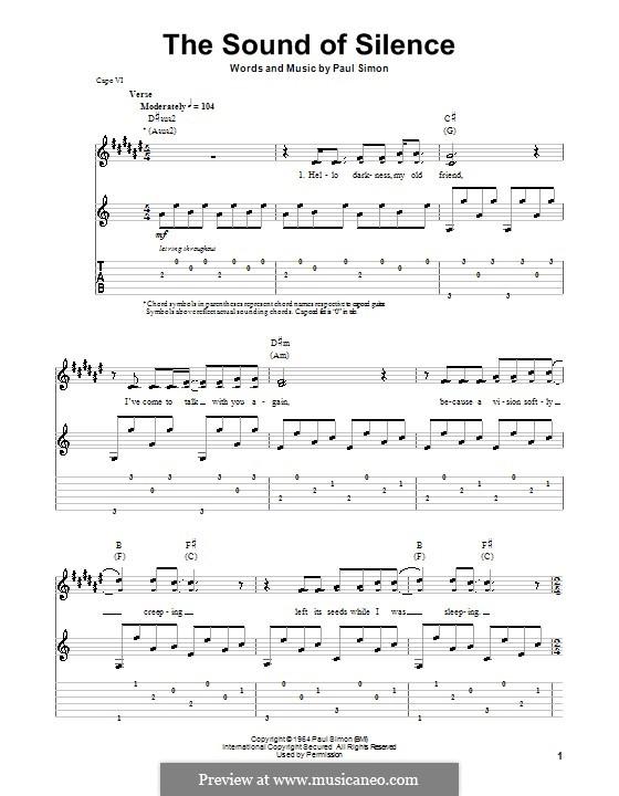 The Sound of Silence (Simon & Garfunkel): Гитарная табулатура by Paul Simon