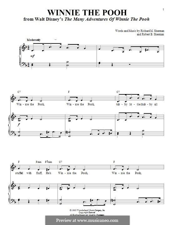 Winnie the Pooh: Для голоса и фортепиано by Richard M. Sherman, Robert B. Sherman