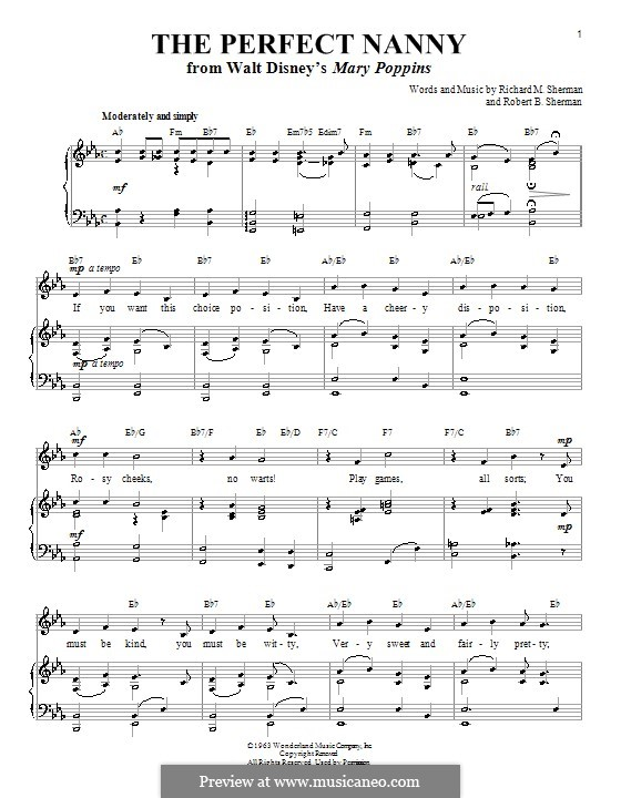 The Perfect Nanny: Для голоса и фортепиано by Richard M. Sherman, Robert B. Sherman