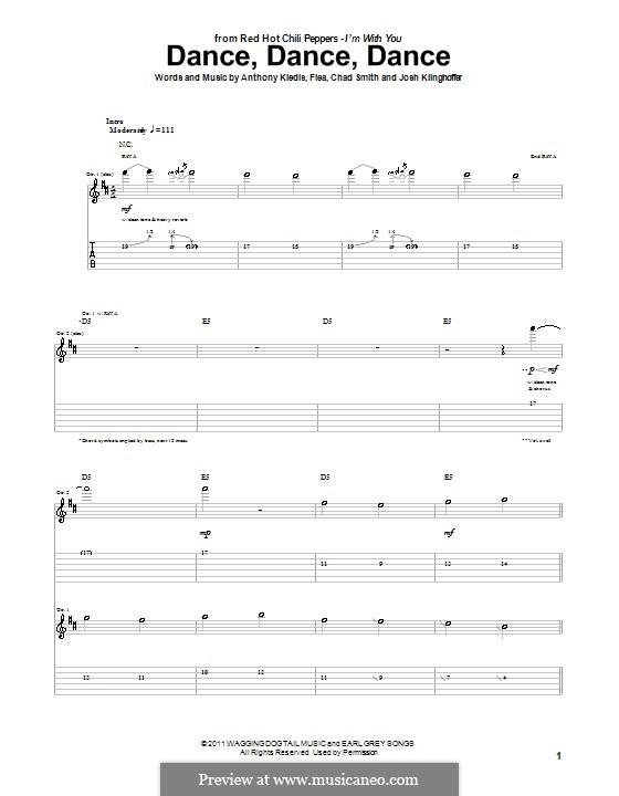 Dance, Dance, Dance (Red Hot Chili Peppers): Для гитары (с табулатурой) by Flea, Anthony Kiedis, Chad Smith, Josh Klinghoffer