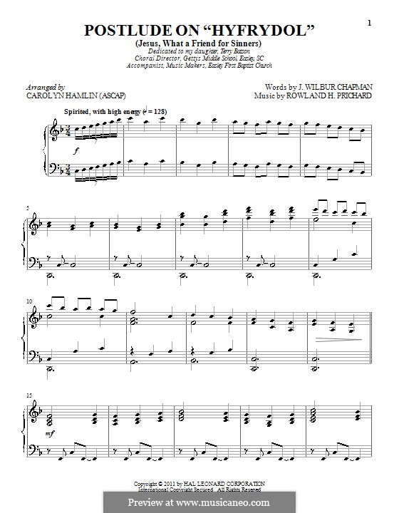 Jesus! What a Friend to Sinners: Для фортепиано by Rowland Huw Prichard