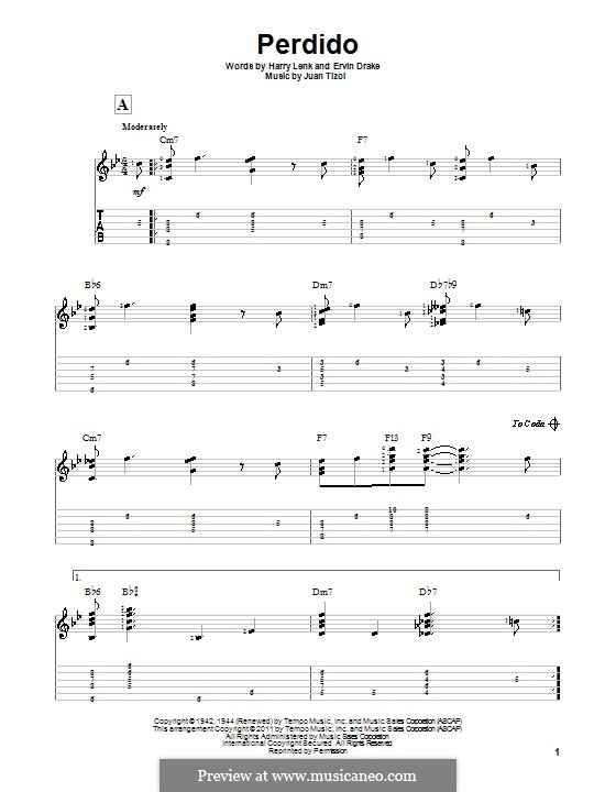 Perdido (Duke Ellington): Гитарная табулатура by Juan Tizol