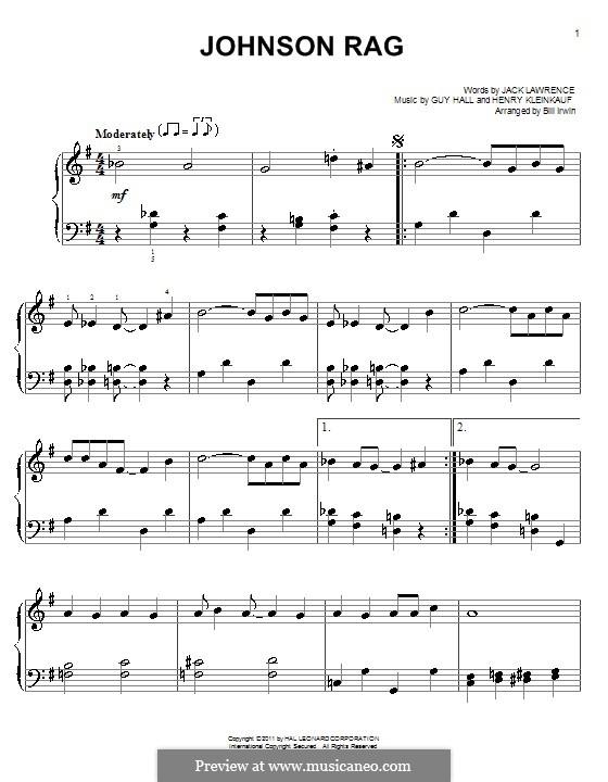 Johnson Rag (Glenn Miller): Для фортепиано (легкий уровень) by Guy Hall, Henry Kleinkauf, Jack Lawrence