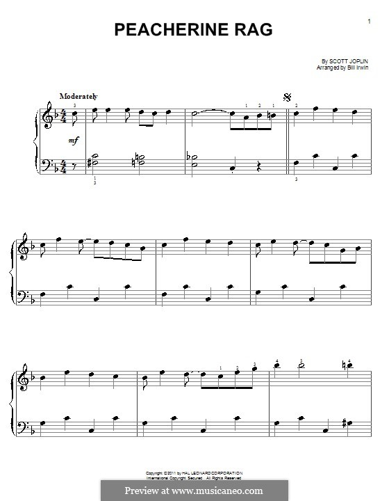 Peacherine Rag: Для фортепиано (легкий уровень) by Скотт Джоплин