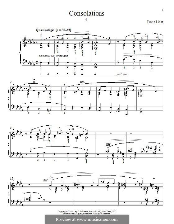 Утешения, S.172: No.4 ре-бемоль мажор by Франц Лист