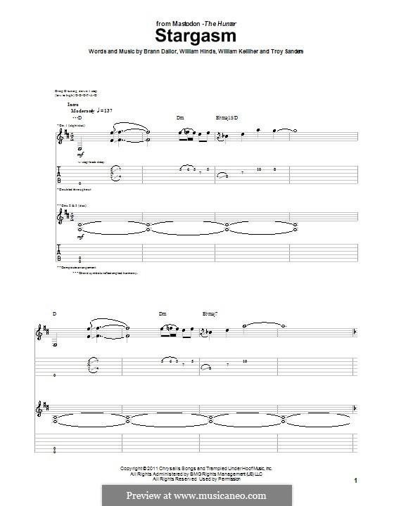 Stargasm (Mastodon): Гитарная табулатура by Brann Dailor, Troy Sanders, William Hinds, William Kelliher