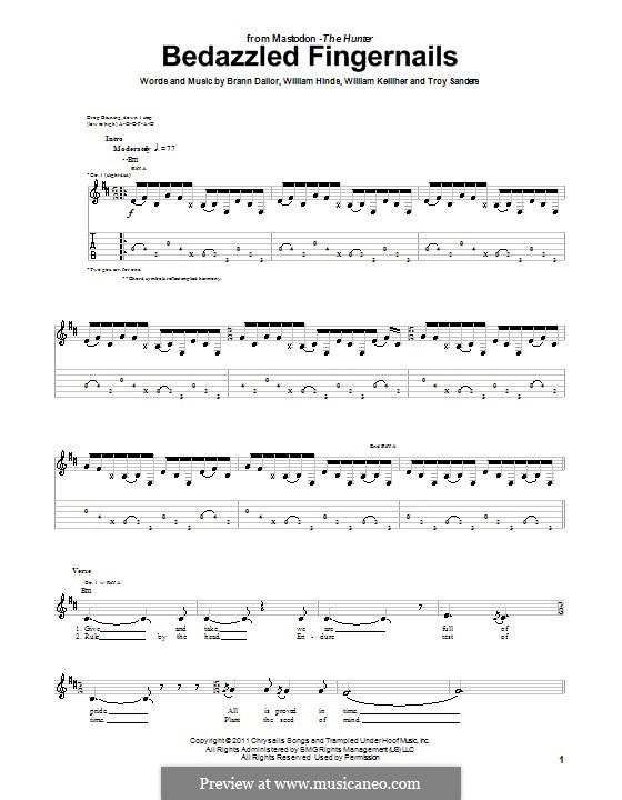 Bedazzled Fingernails (Mastodon): Гитарная табулатура by Brann Dailor, Troy Sanders, William Hinds, William Kelliher