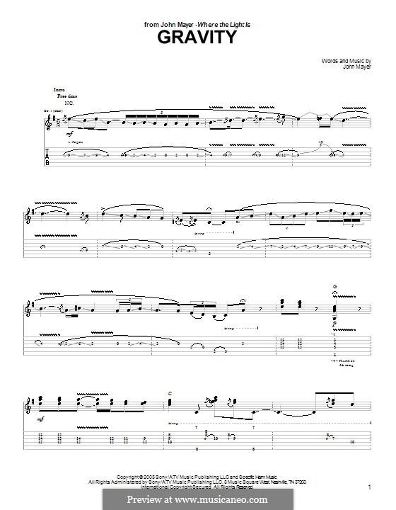 Gravity: Гитарная табулатура by John Mayer