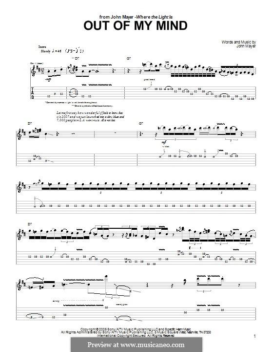 Out of My Mind: Гитарная табулатура by John Mayer