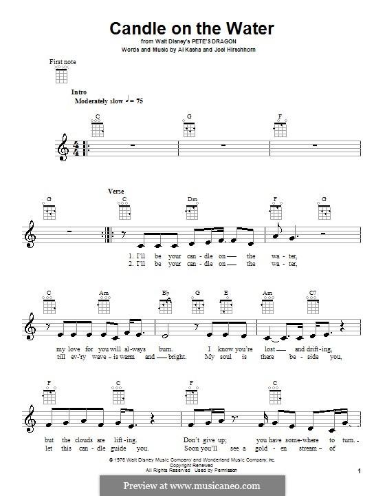 Candle on the Water (from Walt Disney's Pete's Dragon): Для укулеле by Al Kasha, Joel Hirschhorn