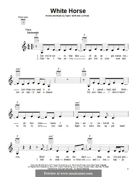 White Horse (Taylor Swift): Для укулеле by Liz Rose