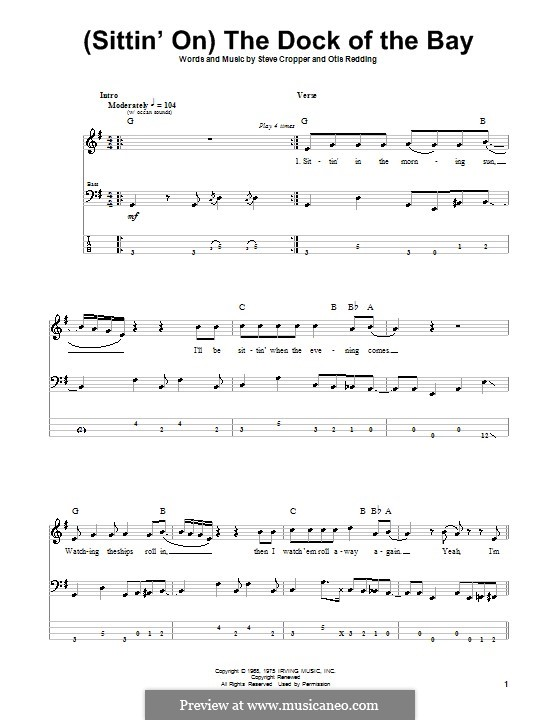 (Sittin' On) The Dock of the Bay: Для бас-гитары с табулатурой by Otis Redding, Steve Cropper