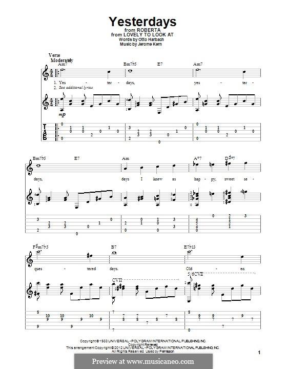 Yesterdays: Гитарная табулатура by Джером Керн
