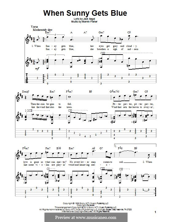 When Sunny Gets Blue (Frank Sinatra): Гитарная табулатура by Marvin Fisher