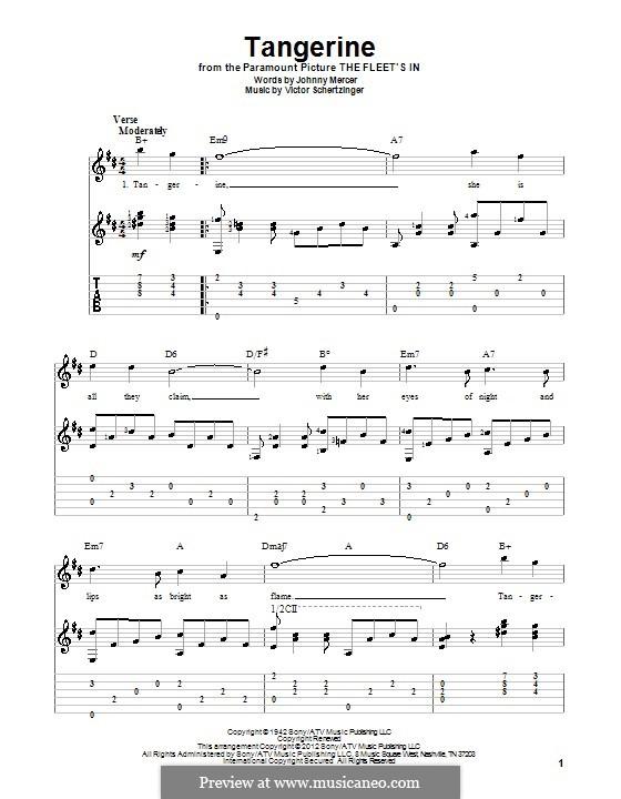 Tangerine: Гитарная табулатура by Victor Schertzinger