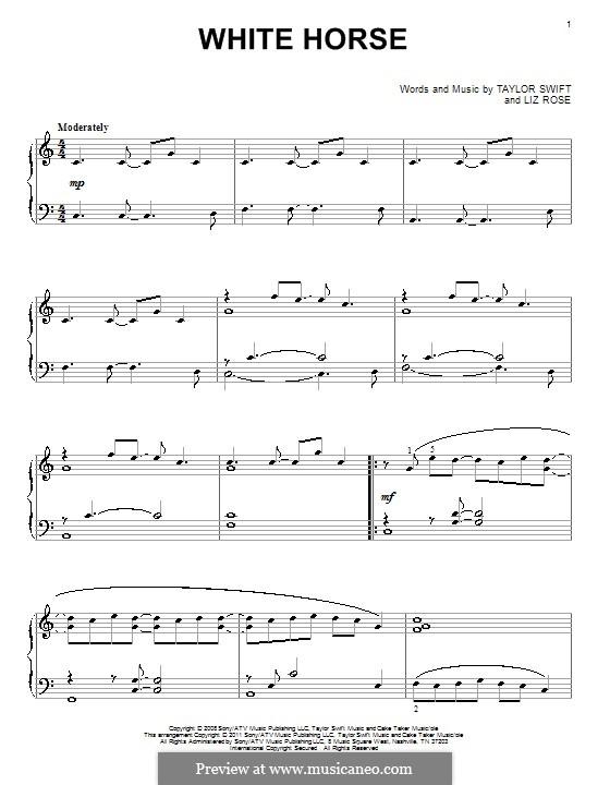 White Horse (Taylor Swift): Для фортепиано by Liz Rose