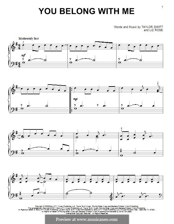You Belong with Me (Taylor Swift): Для фортепиано by Liz Rose