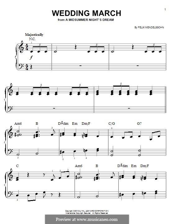 Wedding March (Printable Scores): Для начинающего пианиста (с аккордами) by Феликс Мендельсон-Бартольди