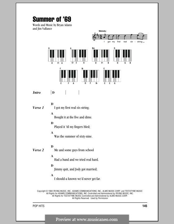 Summer of '69: Текст и аккорды для фортепиано by Bryan Adams, Jim Vallance
