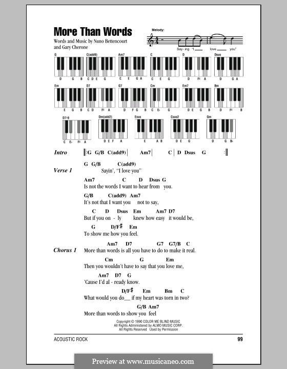 More Than Words (Extreme): Текст и аккорды для фортепиано by Gary Cherone, Nuno Bettencourt
