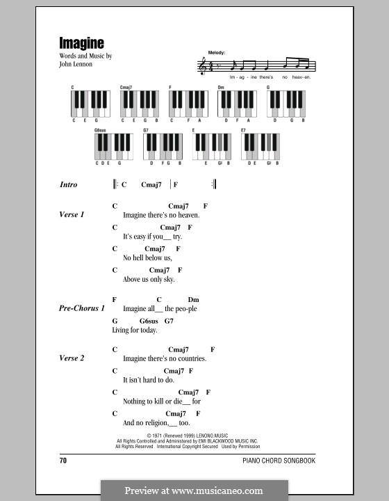 Imagine: Текст и аккорды для фортепиано by John Lennon