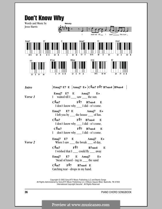 Don't Know Why (Norah Jones): Текст и аккорды для фортепиано by Jesse Harris