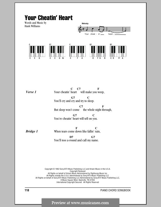 Your Cheatin' Heart: Текст и аккорды для фортепиано by Hank Williams