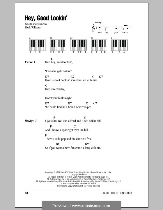 Hey, Good Lookin': Текст, аккорды by Hank Williams