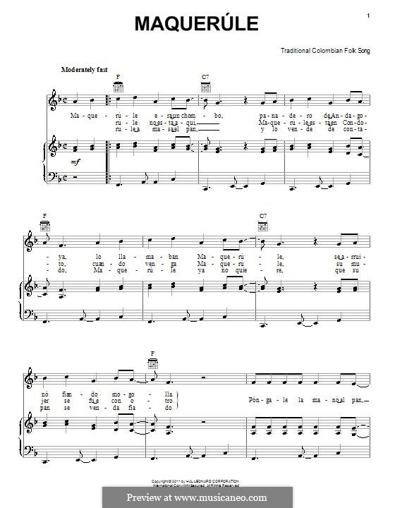 Maquerule: Для голоса и фортепиано (или гитары) by folklore