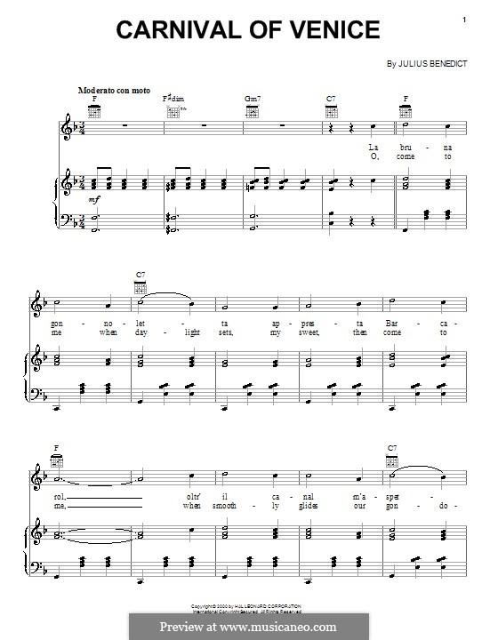 Carnival of Venice: Для голоса и фортепиано (или гитары) by Джулиус Бенедикт