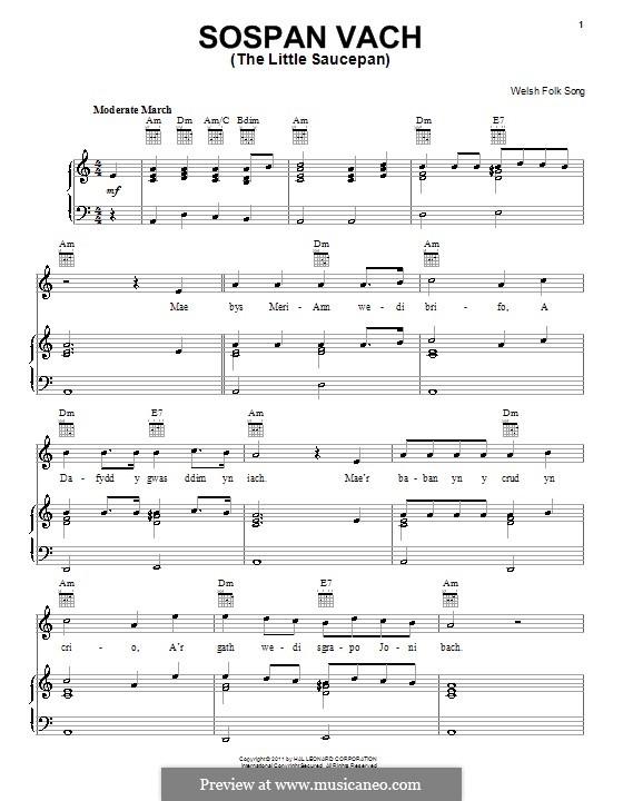 Sospan Vach (The Little Saucepan): Для голоса и фортепиано (или гитары) by folklore