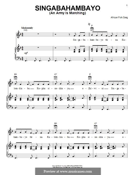 Singabahambayo (An Army Is Marching): Для голоса и фортепиано (или гитары) by folklore