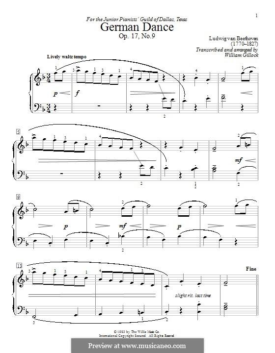 Двенадцать немецких танцев, WoO 8: Танец No.8, для фортепиано by Людвиг ван Бетховен