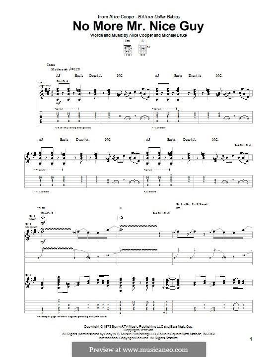 No More Mr. Nice Guy: Гитарная табулатура by Alice Cooper, Michael Bruce