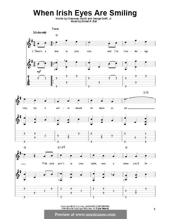 When Irish Eyes Are Smiling: Гитарная табулатура by Ernest R. Ball