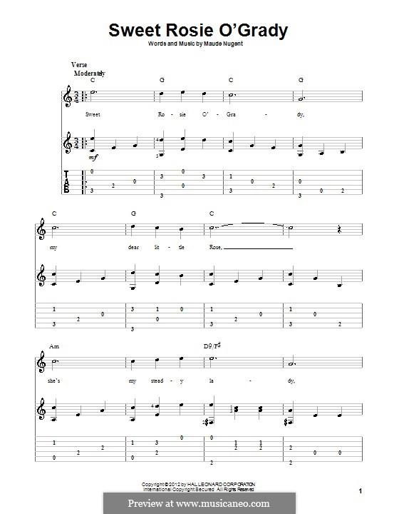 Sweet Rosie O'Grady: Для гитары с табулатурой by Maude Nugent