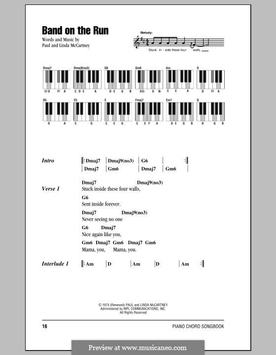 Band on the Run (Wings): Текст и аккорды для фортепиано by Linda McCartney, Paul McCartney