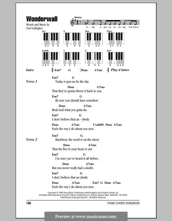 Wonderwall (Oasis): Текст и аккорды для фортепиано by Noel Gallagher