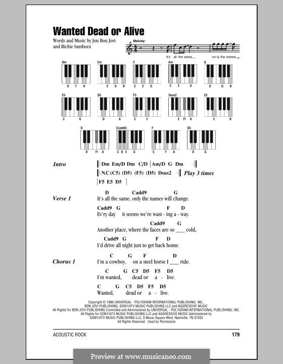 Wanted Dead or Alive (Bon Jovi): Текст и аккорды для фортепиано by Jon Bon Jovi, Richie Sambora