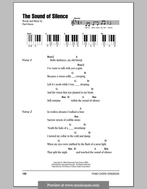 The Sound of Silence (Simon & Garfunkel): Текст и аккорды для фортепиано by Paul Simon
