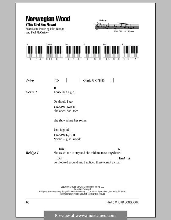 Norwegian Wood (This Bird Has Flown): Текст и аккорды для фортепиано by John Lennon, Paul McCartney