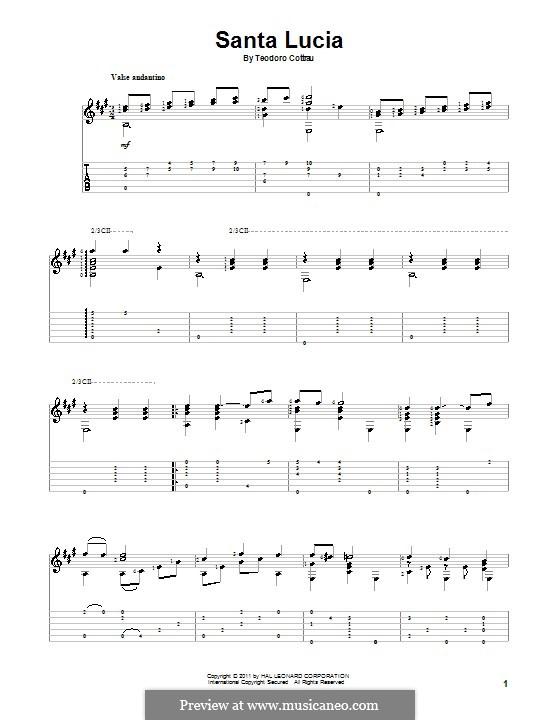 Santa Lucia: Для гитары by Teodoro Cottrau