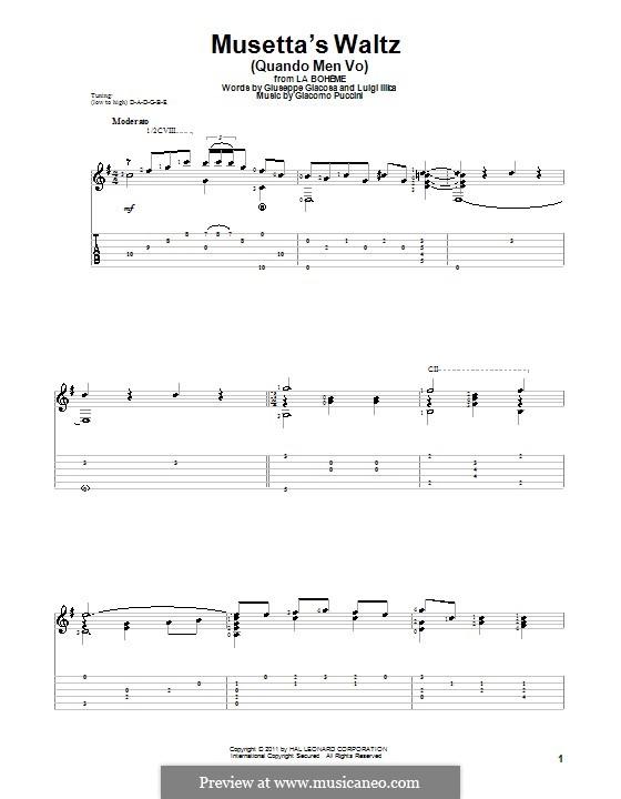 Quando men vo (Musetta's Waltz): Для гитары by Джакомо Пуччини