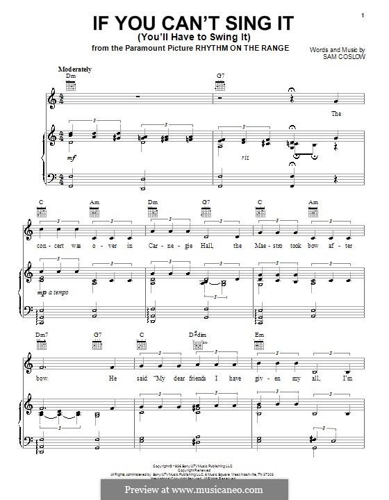 If You Can't Sing It (You'll Have to Swing It): Для голоса и фортепиано (или гитары) by Sam Coslow