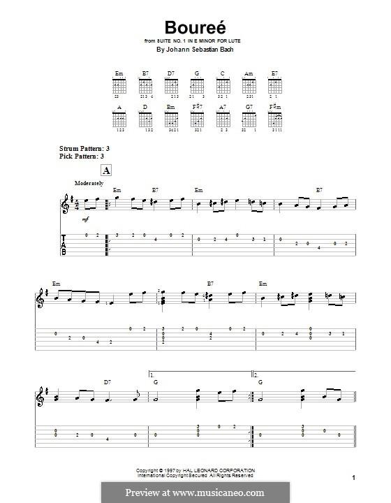 Сюита для лютни (или клавесина) ми минор, BWV 996: Bourrée. Version for easy guitar (with tab) by Иоганн Себастьян Бах