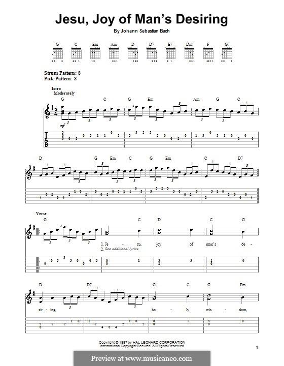 Jesu, Joy of Man's Desiring (Printable Scores): Для гитары by Иоганн Себастьян Бах